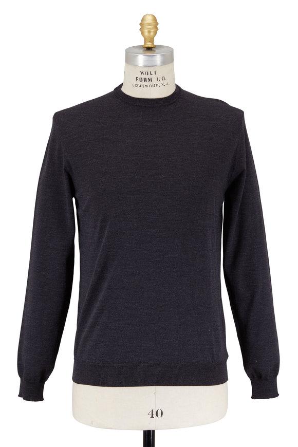 Zanone Flexwood Charcoal Gray Crewneck Sweater