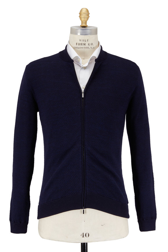 Zanone Navy Blue Birdseye Texture Wool Baseball Sweater