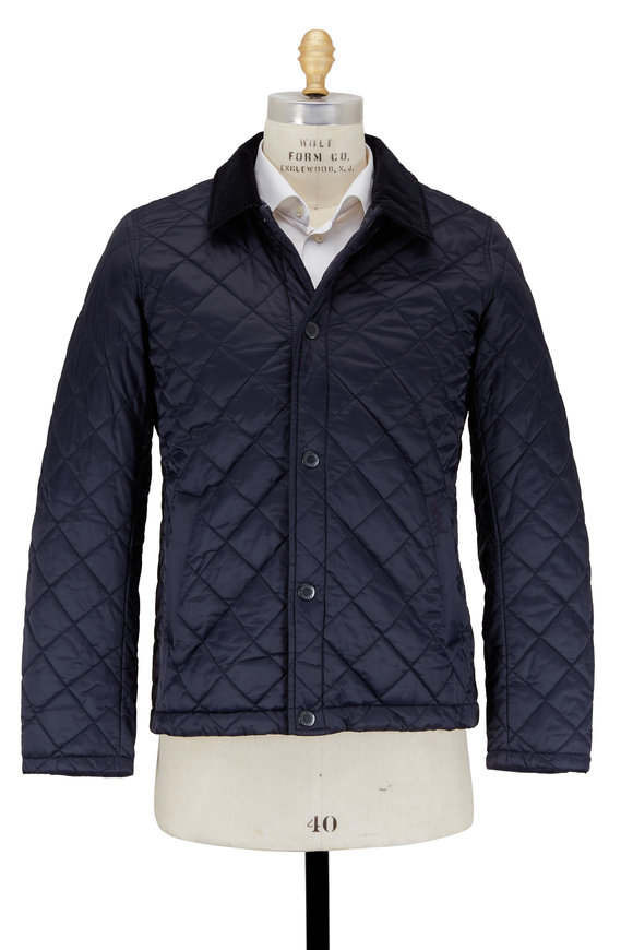 Barbour Holme Navy Blue Quilted Nylon Jacket