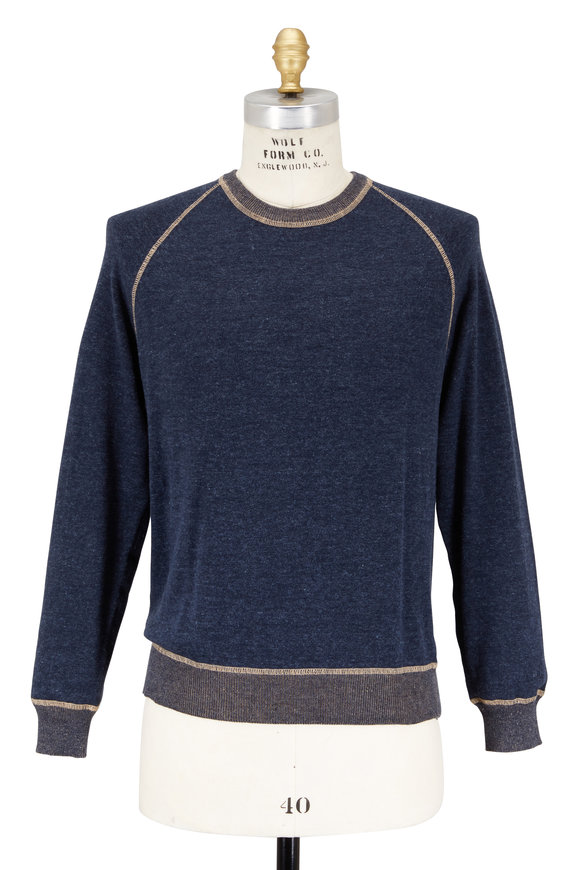 Agave Forerunner Navy Blue Cotton Raglan Sweater