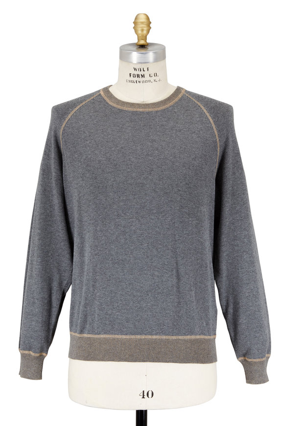 Agave Forerunner Gray Cotton Raglan Sweater