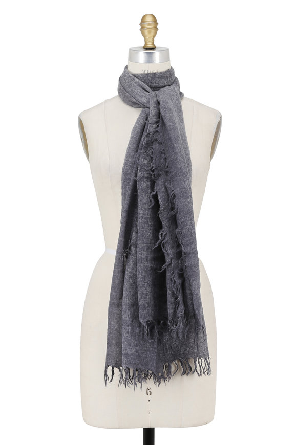 Kinross Charcoal Fringed Cashmere Scarf