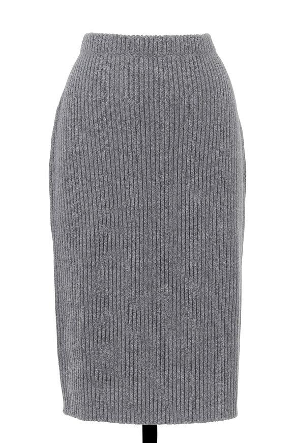 Escada Rowato Gray Ribbed Knit Pencil Skirt