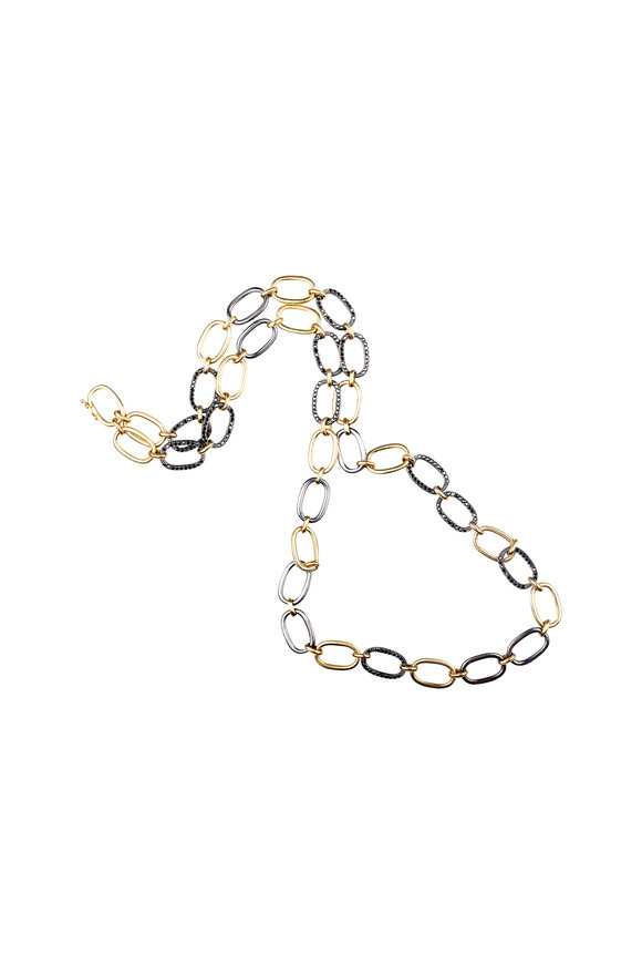 Sylva & Cie 18K Yellow Gold & Silver Black Diamond Necklace