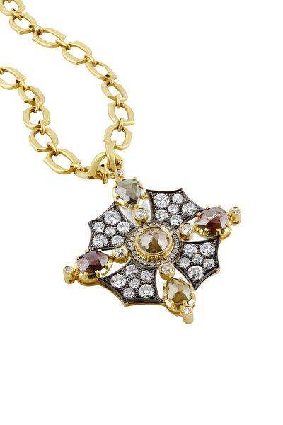 Sylva & Cie - 18K Yellow Gold & Silver Diamond Pendant