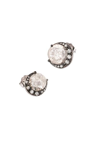 Sylva & Cie - 18K White Gold Rough Diamond Half Moon Studs