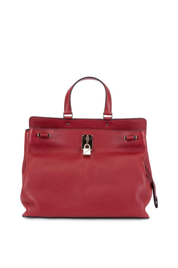 Valentino Joy Luck Rockstud Rubino Leather Top Handle Bag