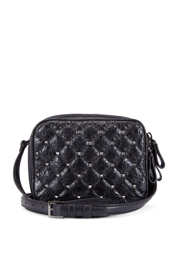 Valentino Rockstud Black Quilted Double Camera Bag