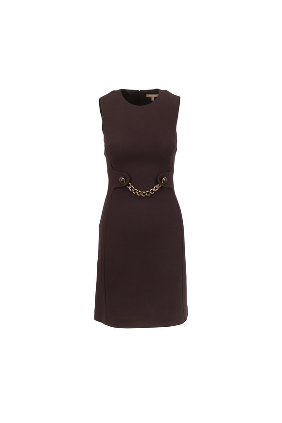 Michael Kors Collection Chocolate Stretch Wool Crêpe Chain Detail Dress