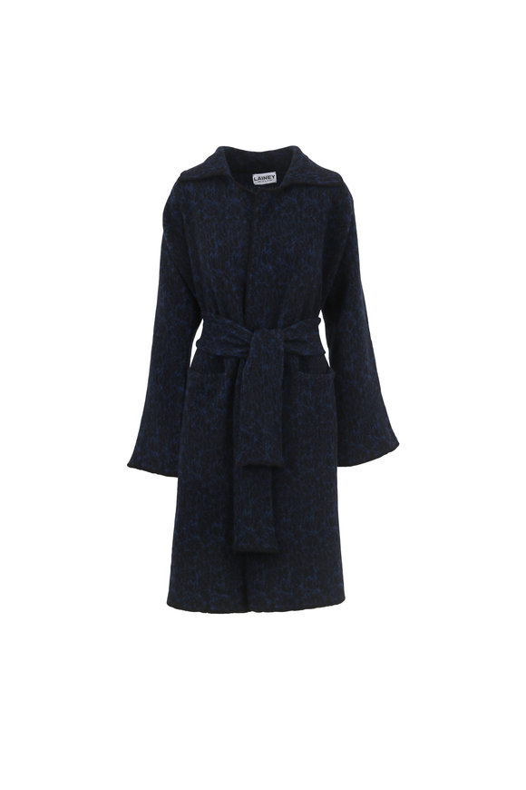 Lainey Keogh Sparker Black & Navy Fair Isle Belted Cardigan