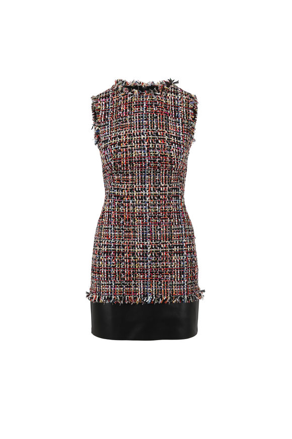 Alexander McQueen Multicolor Tweed & Leather Hem Sleeveless Dress