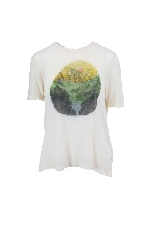 Raquel Allegra Dirty White Landscape Print T-Shirt