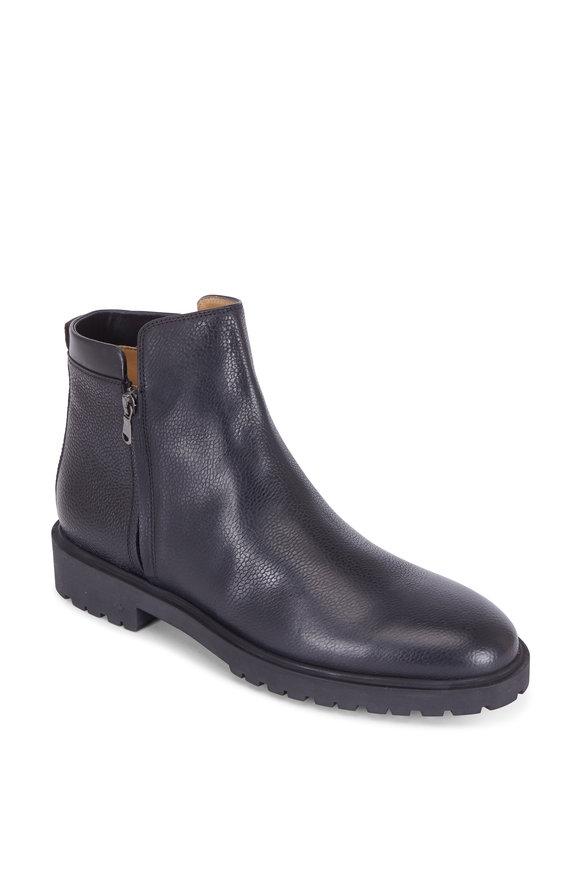 George Brown Janssen Black Pebbled Leather Side Zip Boot