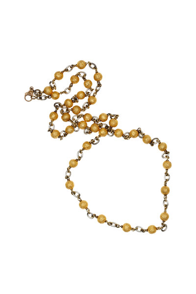 Sylva & Cie - 18K Yellow Gold & Silver Textured Necklace