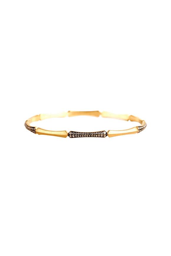 Sylva & Cie 18K Yellow Gold Diamond Corset Bangle