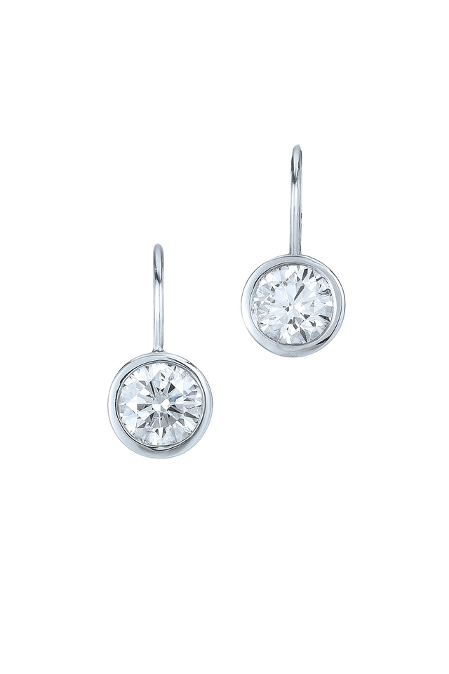 Platinum & 18K White Gold Round Diamond Earrings
