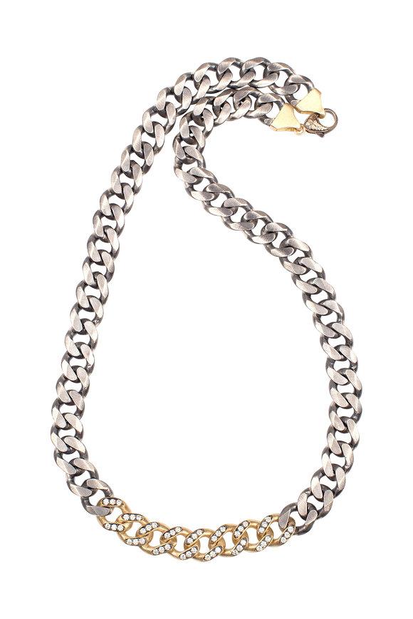 Sylva & Cie 18K Yellow Gold & Silver Diamond Link Necklace