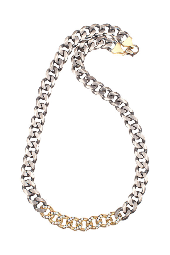 Sylva & Cie 18K Yellow Gold & Silver Diamond Link Necklace