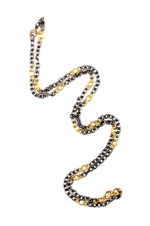 Sylva & Cie 18K Yellow Gold & Silver Link Necklace