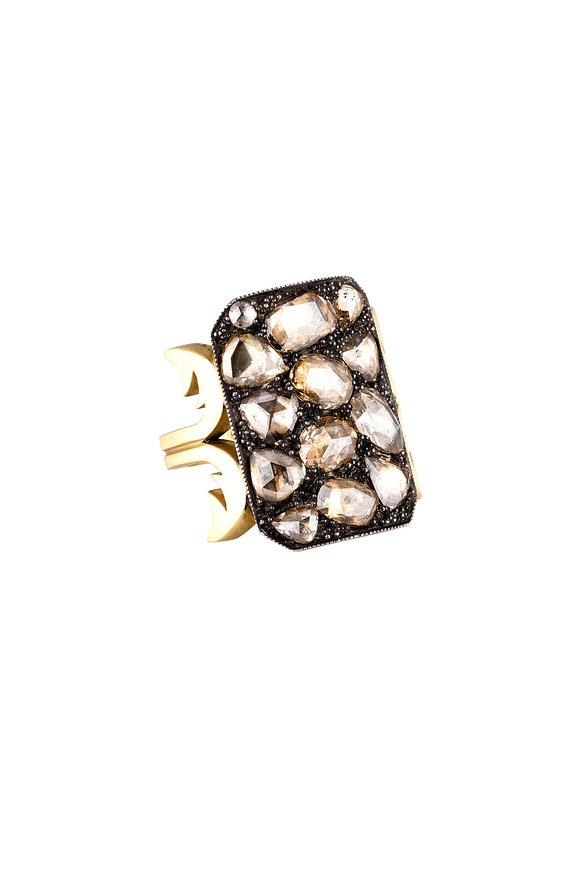 Sylva & Cie 18K Yellow Gold Champagne Diamond Ten Table Ring