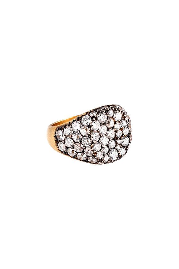 Sylva & Cie 18K Yellow Gold Diamond Signet Ring