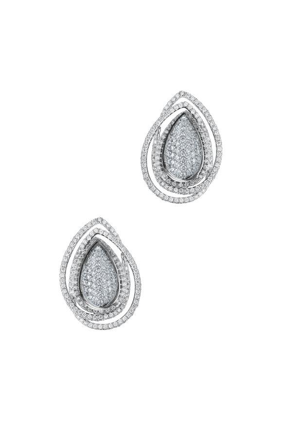 Paolo Costagli 18K White Gold Diamond Orbit Earrings
