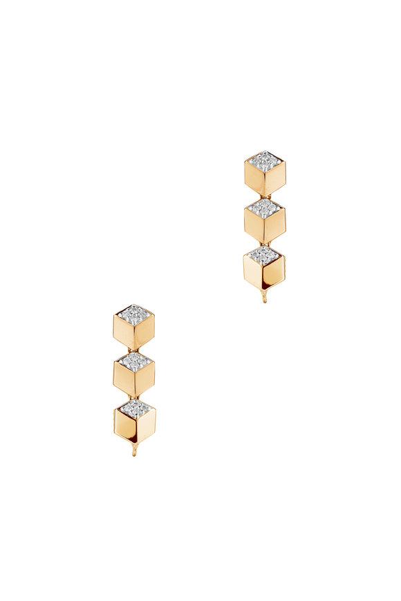 Paolo Costagli 18K Rose Gold Pavé Diamond Brilliante Earrings