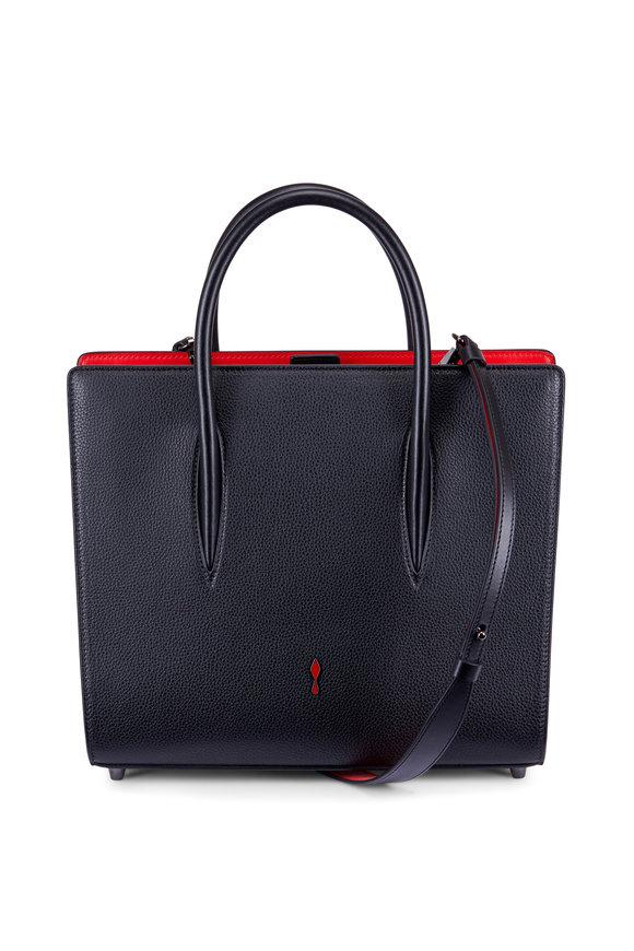 Christian Louboutin Black Leather & Patent Leather Medium Satchel