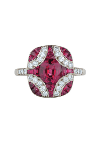 Kwiat - 18K White Gold Ruby & Diamond Ring