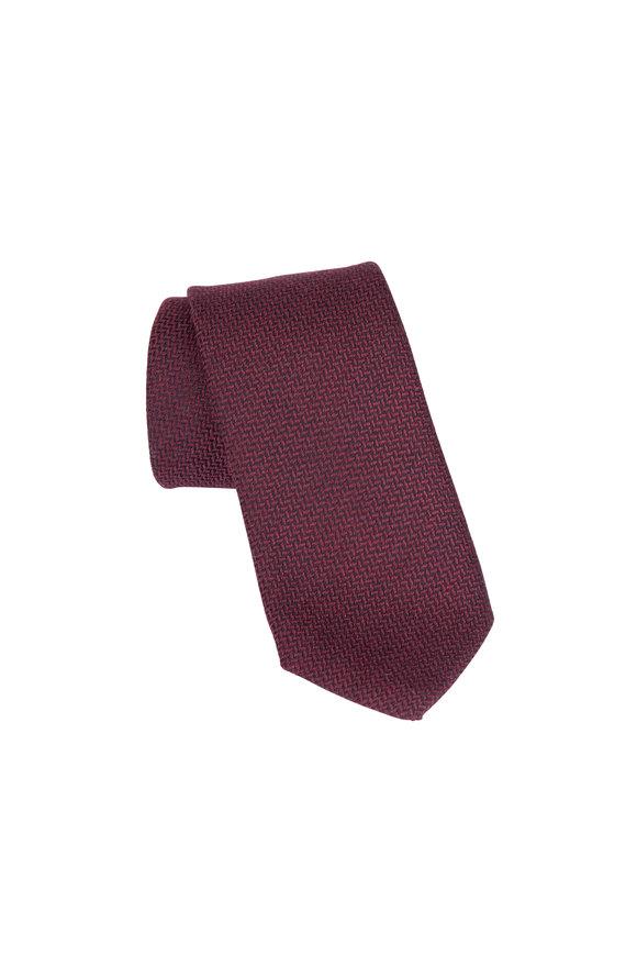 Eton Burgundy Geometric Patterned Wool & Silk Necktie