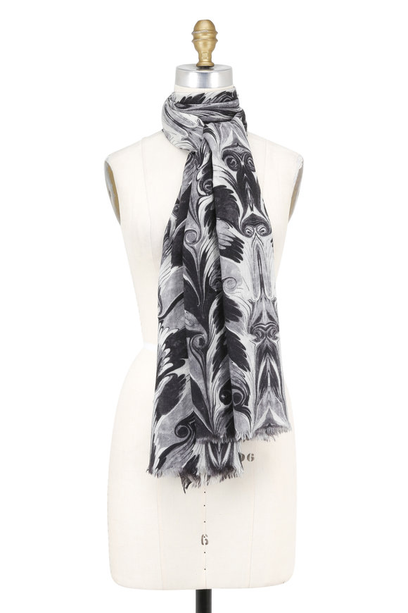 Alexander McQueen Gray Graphic Marble Print Cashmere Scarf