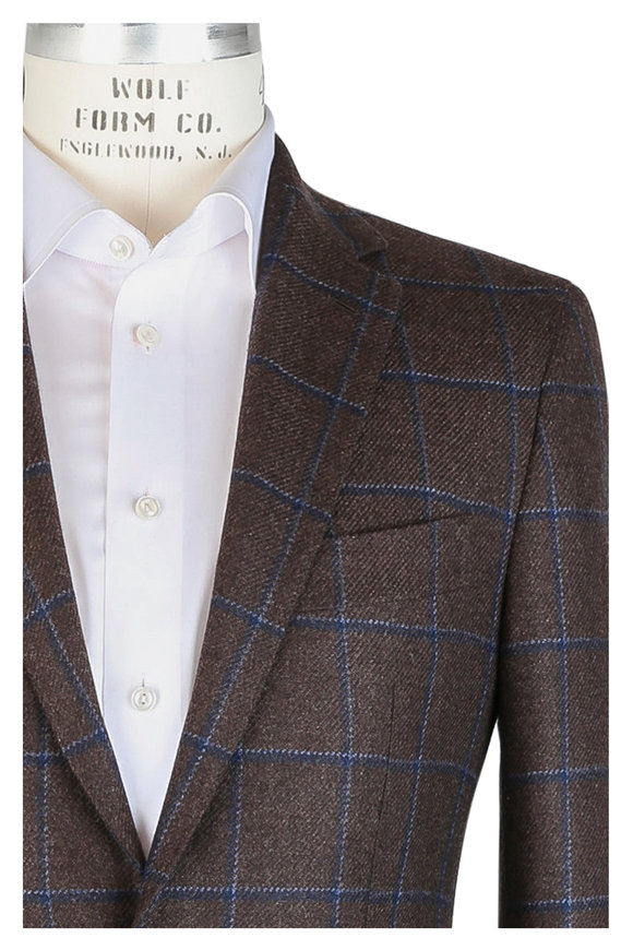Mauro Blasi Brown & Blue Windowpane Cashmere Sportcoat
