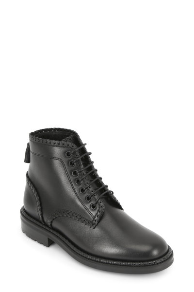 Saint Laurent - William Black Whip-Stitch Detail Combat Boot