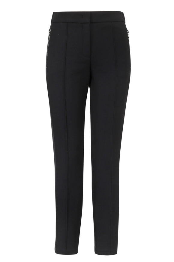 Escada Black Tuxedo Striped Zip Pocket Pant