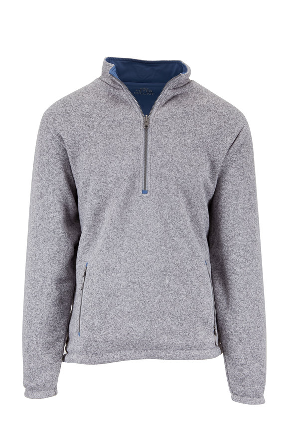 Peter Millar Stratton Smoke Gray & Blue Reversible Pullover