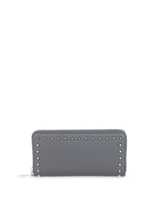 Christian Louboutin Panettone Gray Leather Stud Continental Wallet