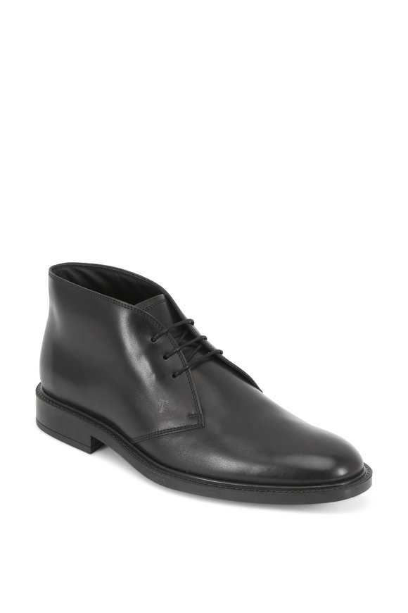 Tod's Gomma Black Leather Lace-Up Boot