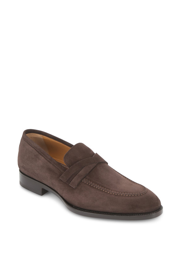 Di Bianco Dark Brown Suede Criss-Cross Strap Loafer