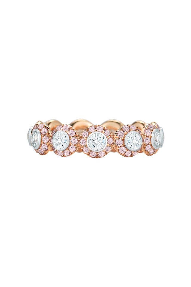 Silhouette Pink Gold & Platinum Diamond Ring
