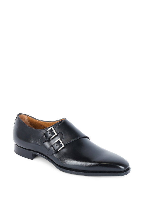Gravati Black Leather Double Buckle Monk Strap Dress Shoe