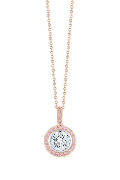 Kwiat - Shillouette White & Pink Gold Diamond Pendent