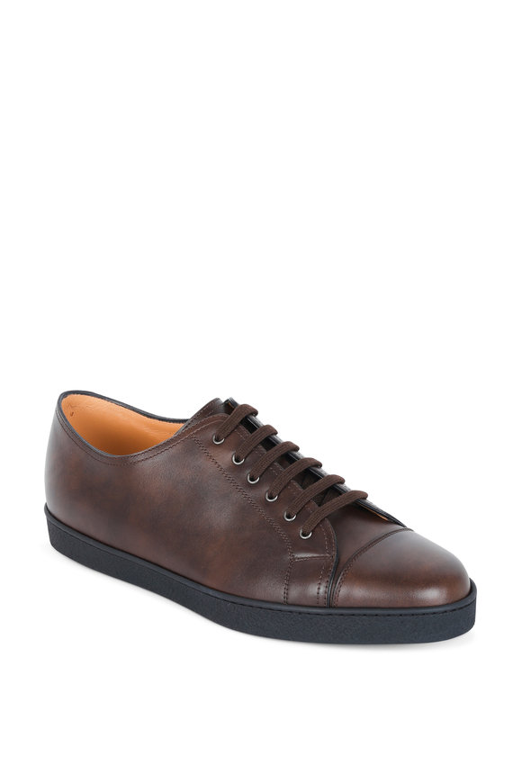 John Lobb Levah Dark Brown Leather Low Top Sneaker