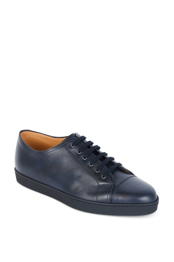 John Lobb Levah Navy Blue Leather Low Top Sneaker