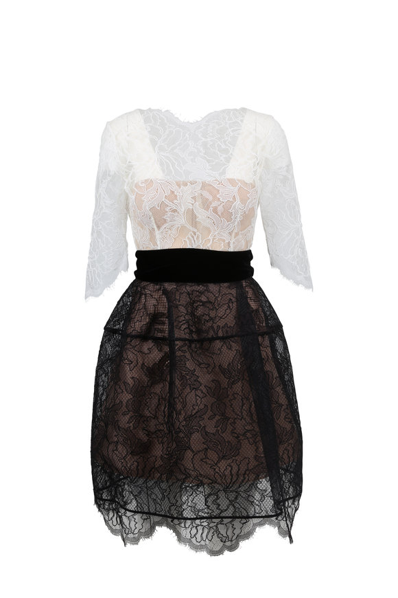 Oscar de la Renta White & Black Lace Elbow Sleeve Dress