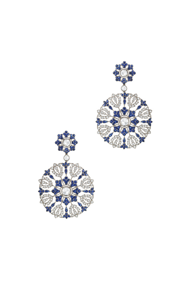 Vintage White Gold Sapphire Diamond Lace Earrings