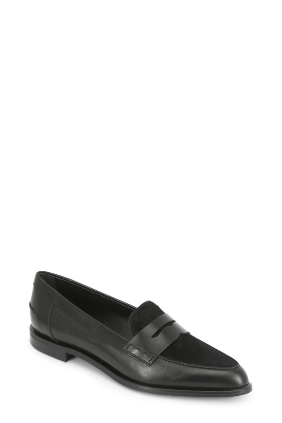 Tod's Gomma Black Calf Hair & Leather Penny Loafer