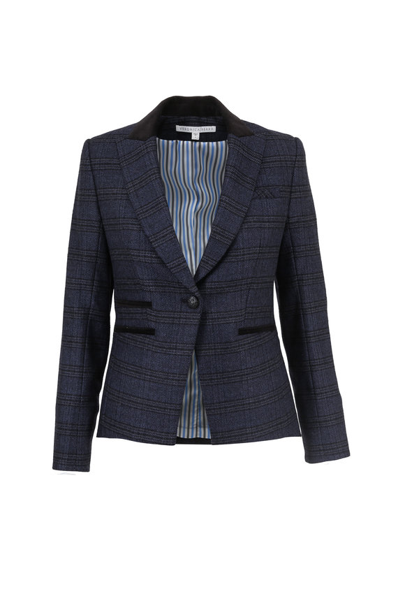 Veronica Beard Gia Navy Blue Plaid Dickey Jacket