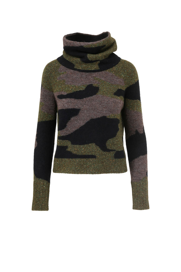 Veronica Beard Davis Army Camo Wool Blend Funnel Neck Sweater