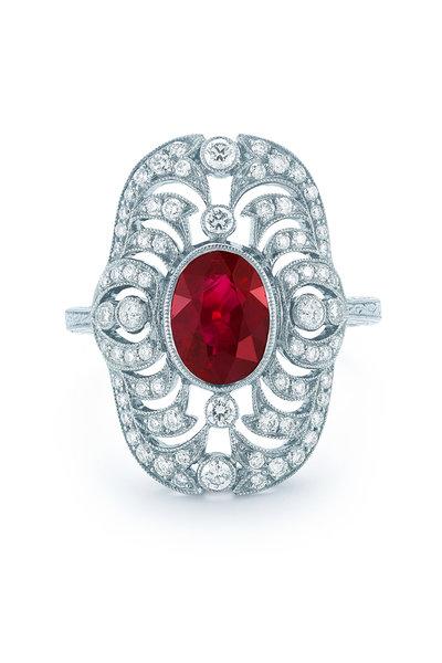 Kwiat - Vintage White Gold Ruby & Diamond Ring