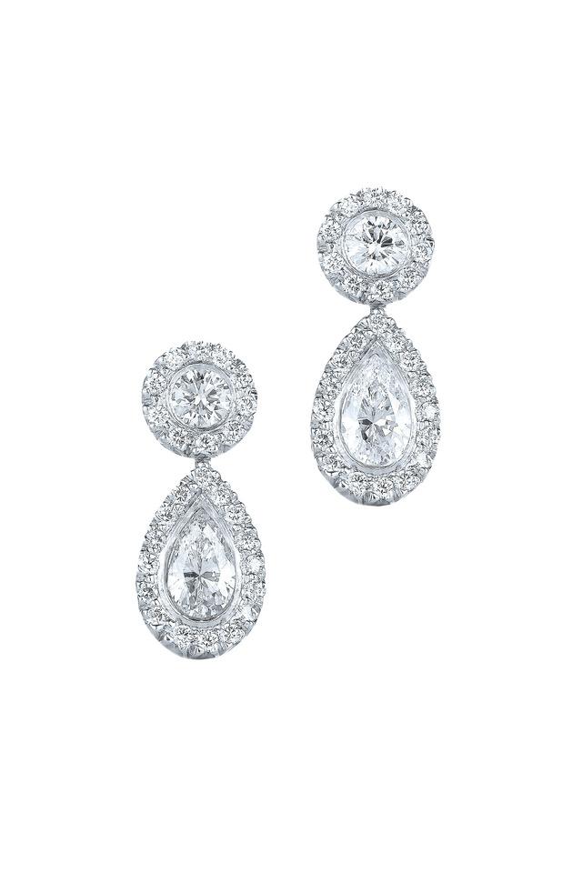 Silhouette Platinum Diamond Drop Earrings